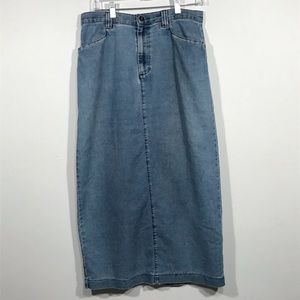Vintage Lee Denim High-Waist Modest Maxi Skirt